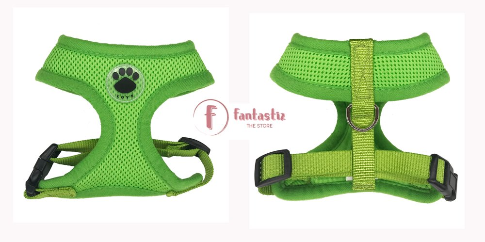 Pet Vest Harness green front and back