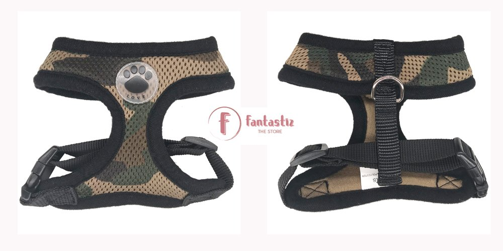 Pet Vest Harness camouflage front and back