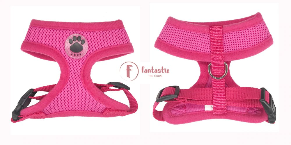 Pet Vest Harness rose red front and back
