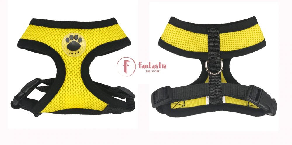 Pet Vest Harness yellow front and back