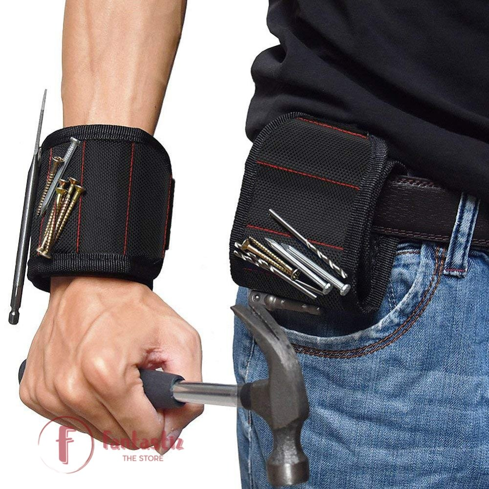 the magnetic wristband used as compact tool belt