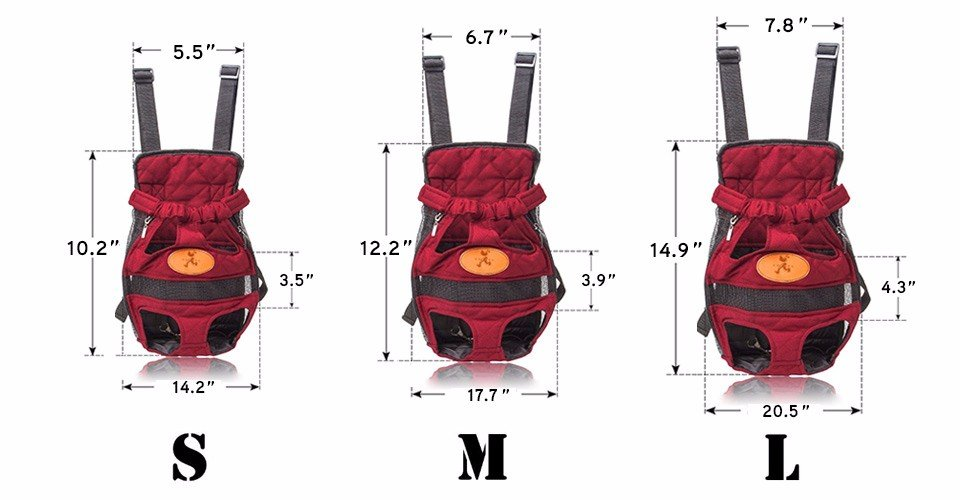 Pet Carrier Backpack sizes